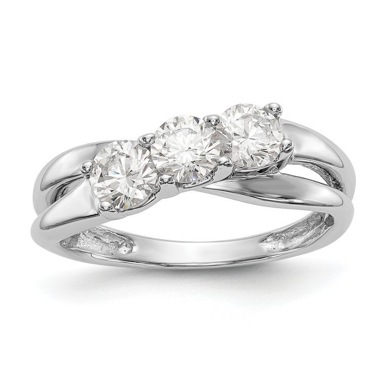 14k White Gold 3 Stone Diamond Engagement Ring Service Merchandise Diamond Engagement Rings Engagement Ring Mountings Diamond Engagement