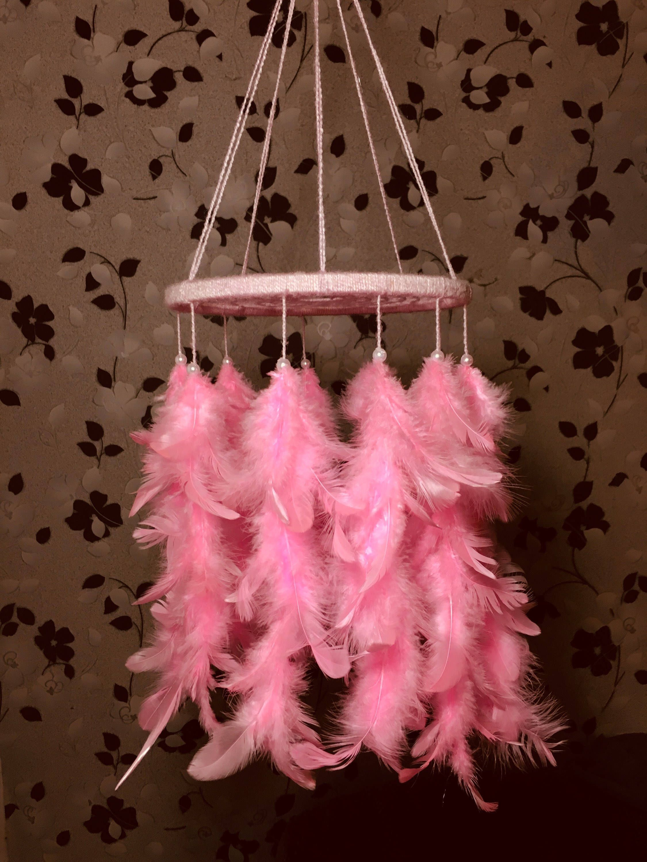 Baby mobile girl mobile dream catcher mobile boho nursery dreamcatcher cream ivory light pink feather mobile baby shower mobile images