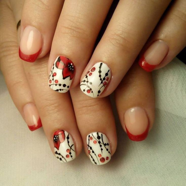 Best 80+ Red french tip nail designs 2018   Art Design Nails   Pinterest