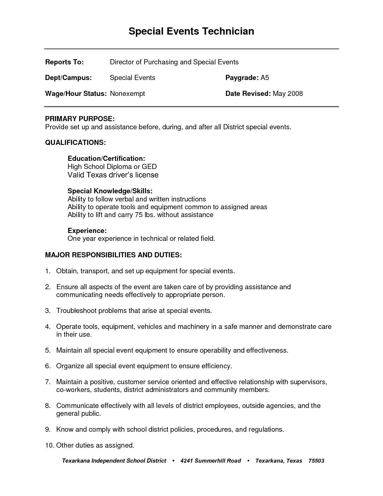 General Labor Resume Templates Resume Sample
