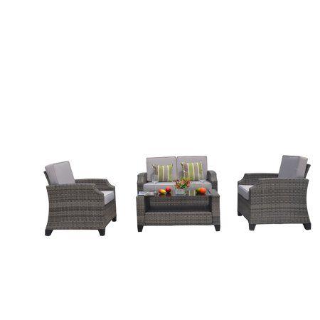 Mancha 4 Piece Outdoor Patio Furniture Conversation Set Garden