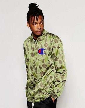 02749b0c97458 Champion Coach Jacket With Camo Print Trench Coat Men, Mens Trends, Camo  Print,
