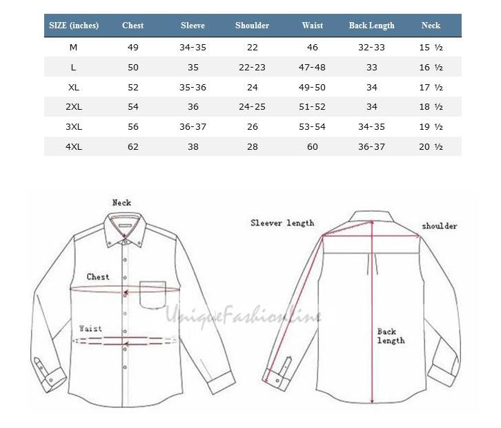 The below measurements reflect the body measurements for the sizes listed. For additional measurements please contact our customer service. For Dress Shirts, please order based on your neck and sleeve length measurements.