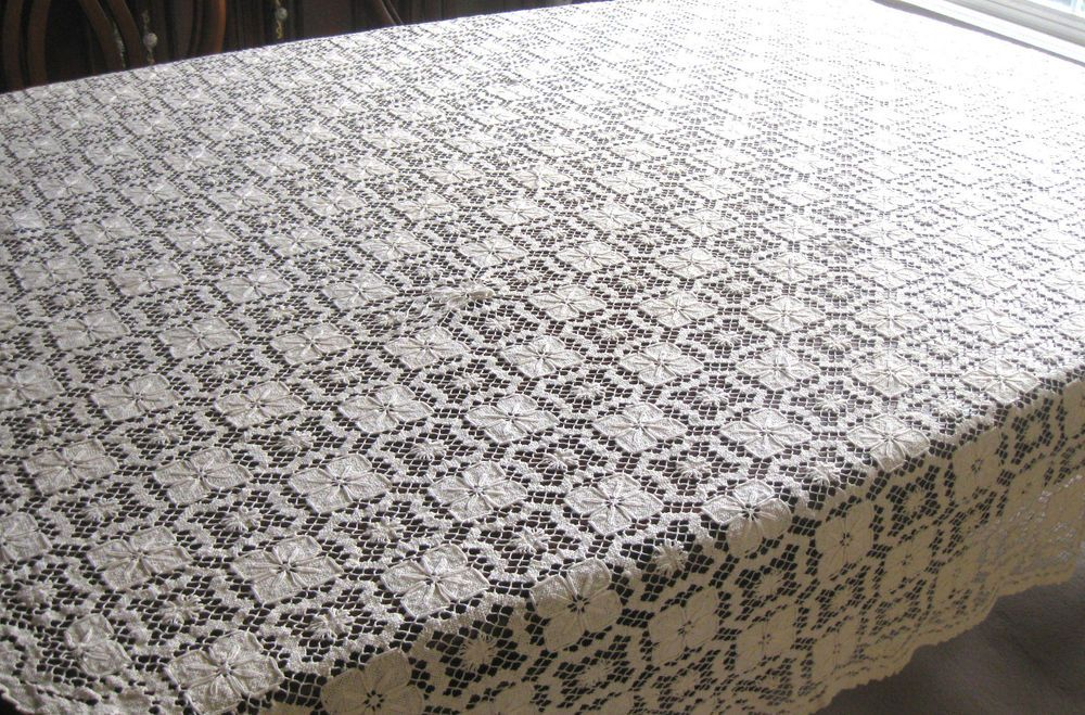 """Vintage  Cotton Hand Crocheted  Oval Tablecloth,. Size 77"""" x 67"""""""