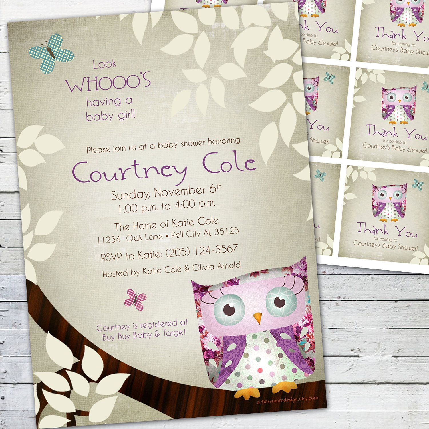 Vintage Owl Baby Shower Invitations: Owl Baby Shower Invitation And Gift Bag Tags (purple