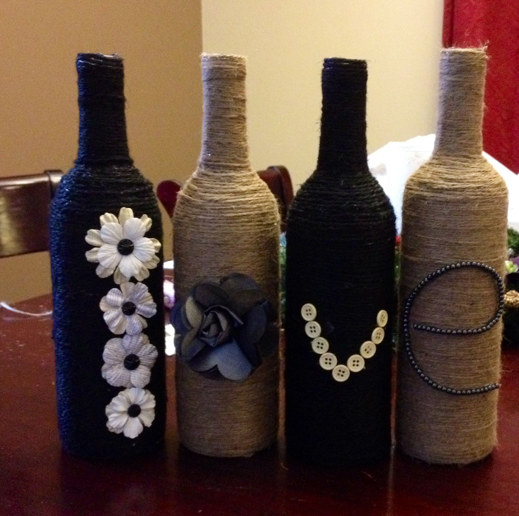 Decorated wine bottles crafts pinterest for Ways to decorate wine bottles