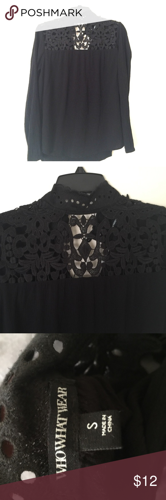 Beautiful Black Top Really pretty crochet cut out Top! Goes great with anything. whowhatwear Tops Blouses