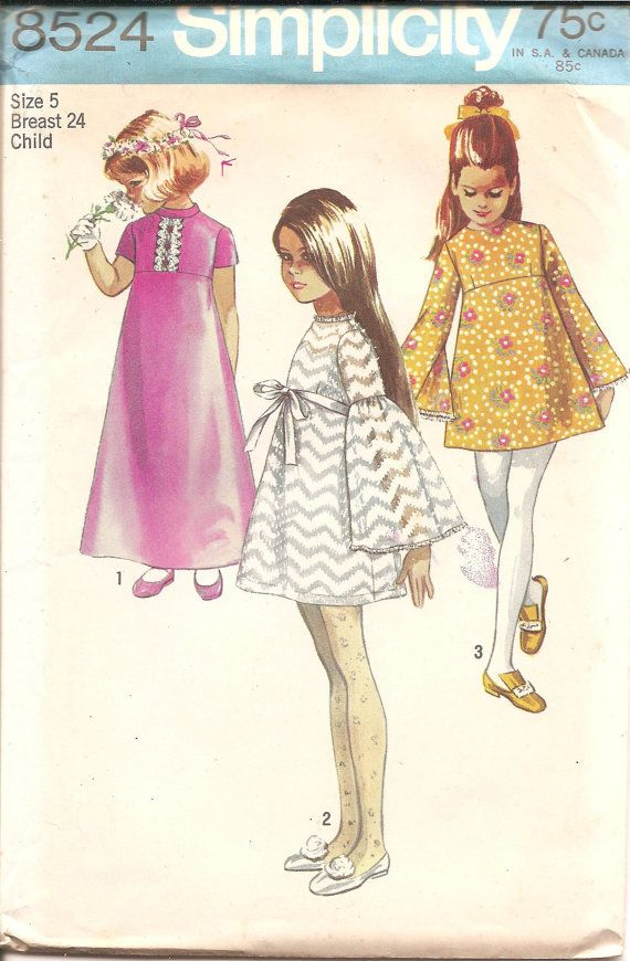 1960s Girls Mod Dress with Bell Sleeves - Simplicity 8524 Vintage ...