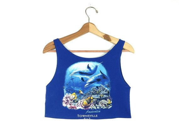 90's Dolphin Vacation Crop Top by RIDETHENOWAVE on Etsy, $18.00
