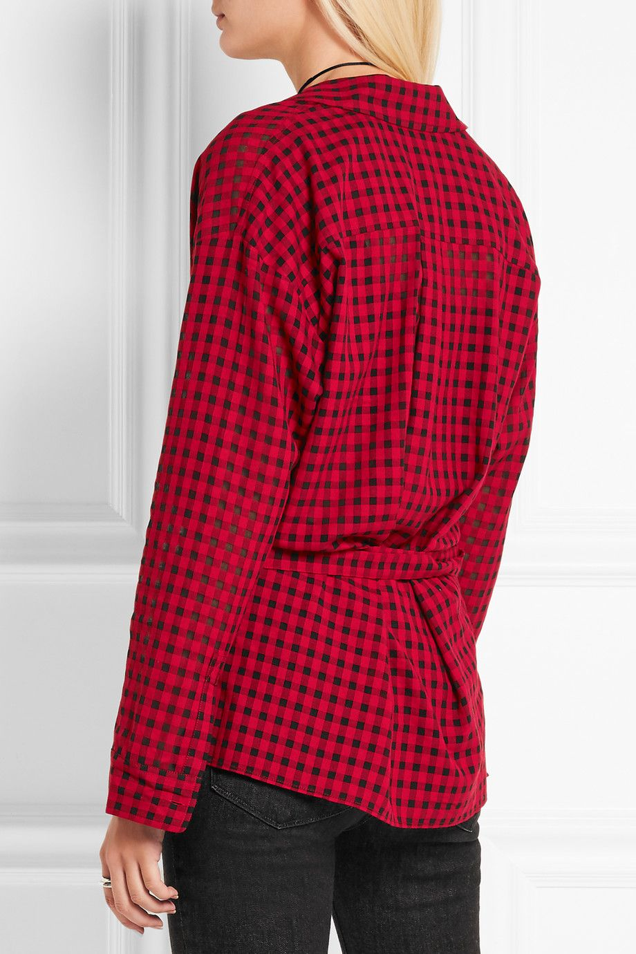 T by Alexander Wang | Plaid gauze wrap shirt | NET-A-PORTER.COM