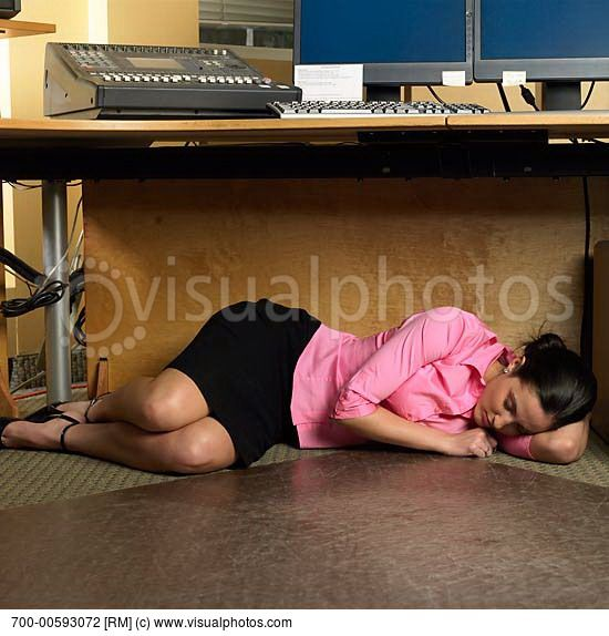 Cartoon girl sleeping at the office woman sleeping under desk you make my heart smile - Desk girl image in ...