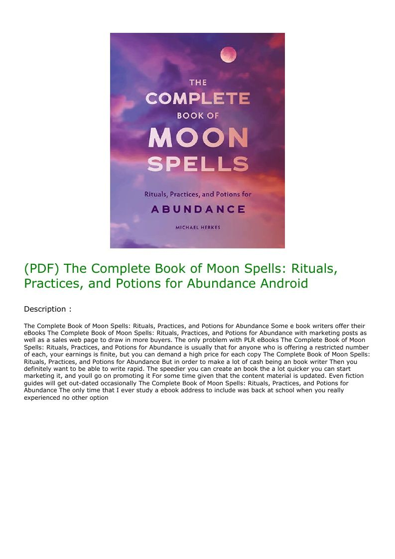(PDF) The Complete Book of Moon Spells Rituals, Practices