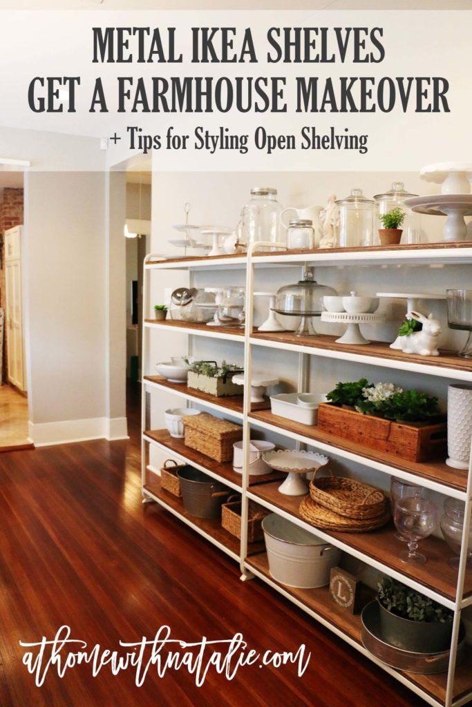 Metal Ikea Shelves Get Farmhouse Makeover Dining Room Shelves Ikea Shelving Unit Kitchen Shelf Unit