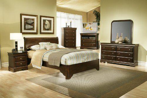Alpine Furniture 5 Piece Chesapeake Sleigh Bed Set with Media Chest