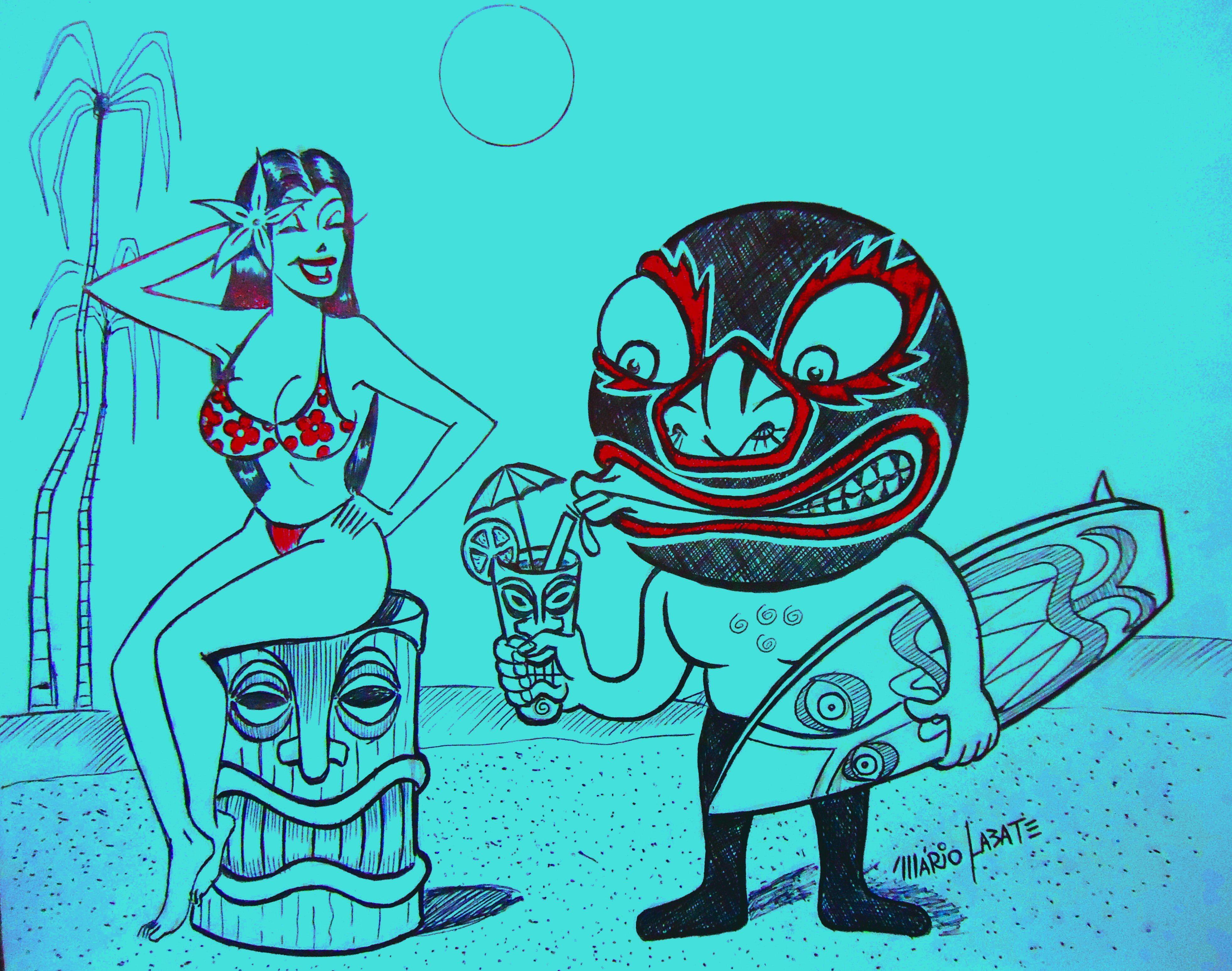 Lucha Libre Tiki Surf | Art, My arts, Painting