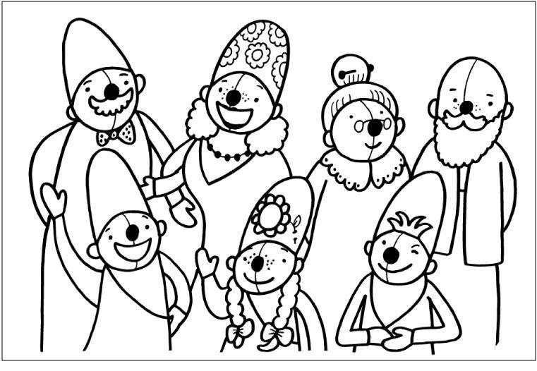 Kleurplaten Mijn Familie.Kleurplaat Pompom Familie Familie Thema Mijn Familie En