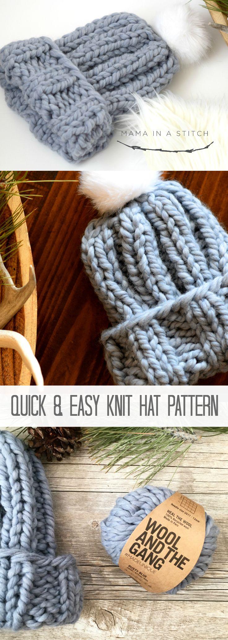 Quick Chunky Knit Hat Pattern via @MamaInAStitch free pattern ...