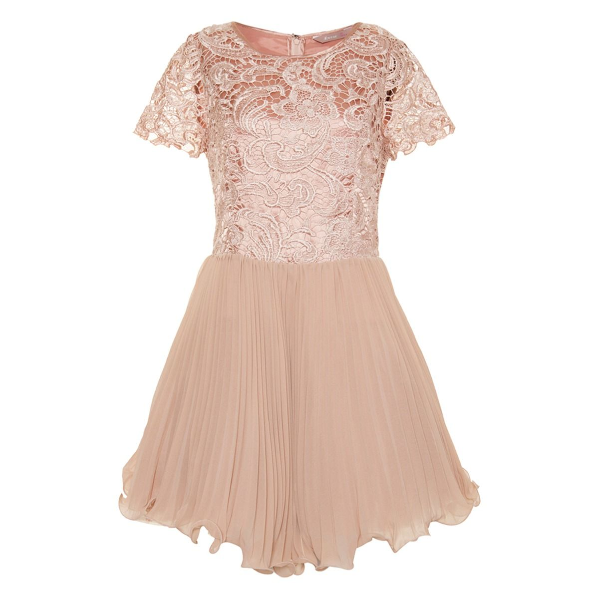 Champagne Lace and Pleat Dress