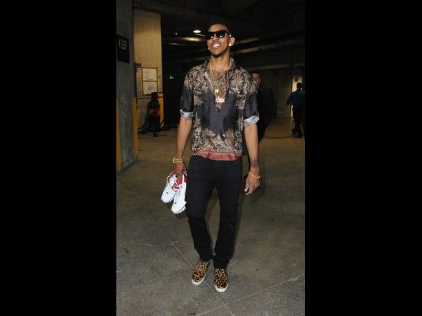 @nicoosta Nick Young #11 of the Los Angeles Clippers arrives before taking on the San Antonio Spurs in Game Three of the Western Conference Semifinals during the 2012 NBA Playoffs at Staples Center on May 19, 2012 in Los Angeles, California.