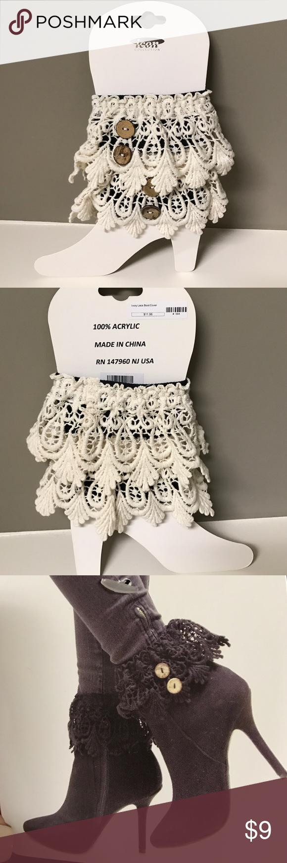 Ivory Lace Boot Cover Ivory, One Size Fits Most Boots, New With Tags Icon Collection Accessories