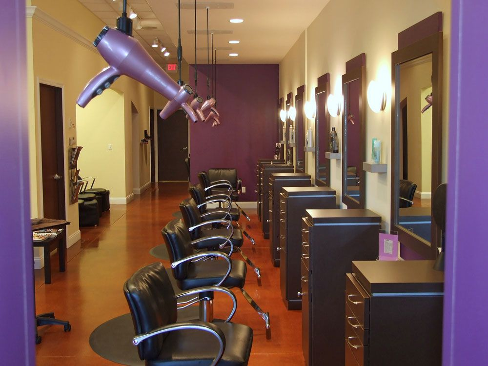Visited The Michael Levine Salon Today It Blew My Mind I Loved The Blow Dryers Hanging From The Ceiling Salon Interior Salon Hair Dryer Salon Decor