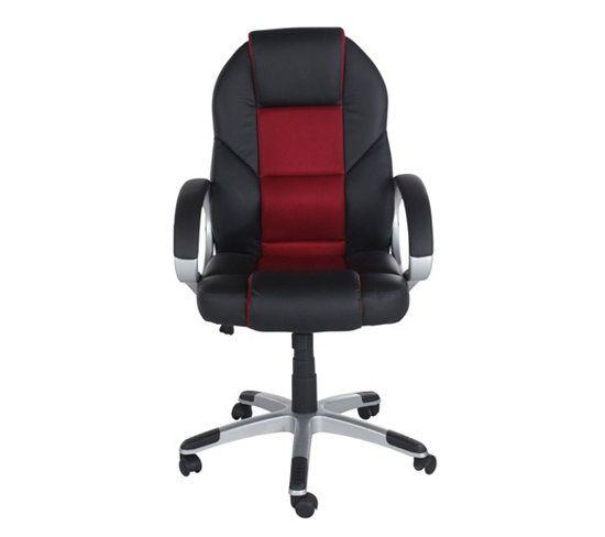Chaises Et Fauteuils Fauteuil de bureau LEON Noir et rouge