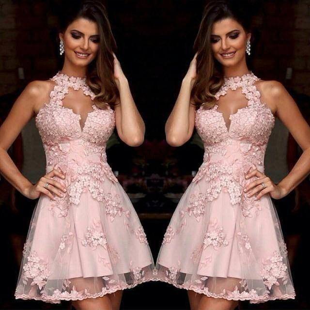 Vestidos De Coctel Elegantes Rosa Halter De Encaje Apliques