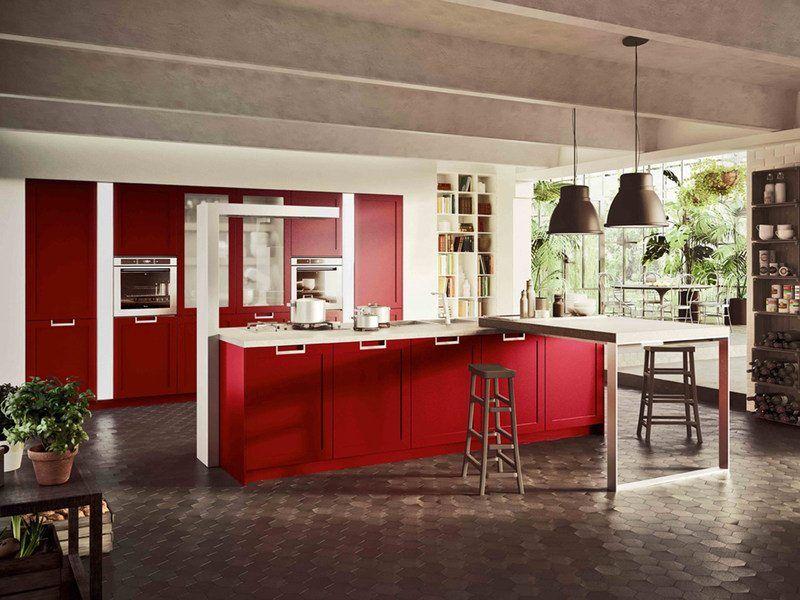 Cuisine rouge et grise qui incarne lu0027idée du0027une vie moderne - Photo Cuisine Rouge Et Grise