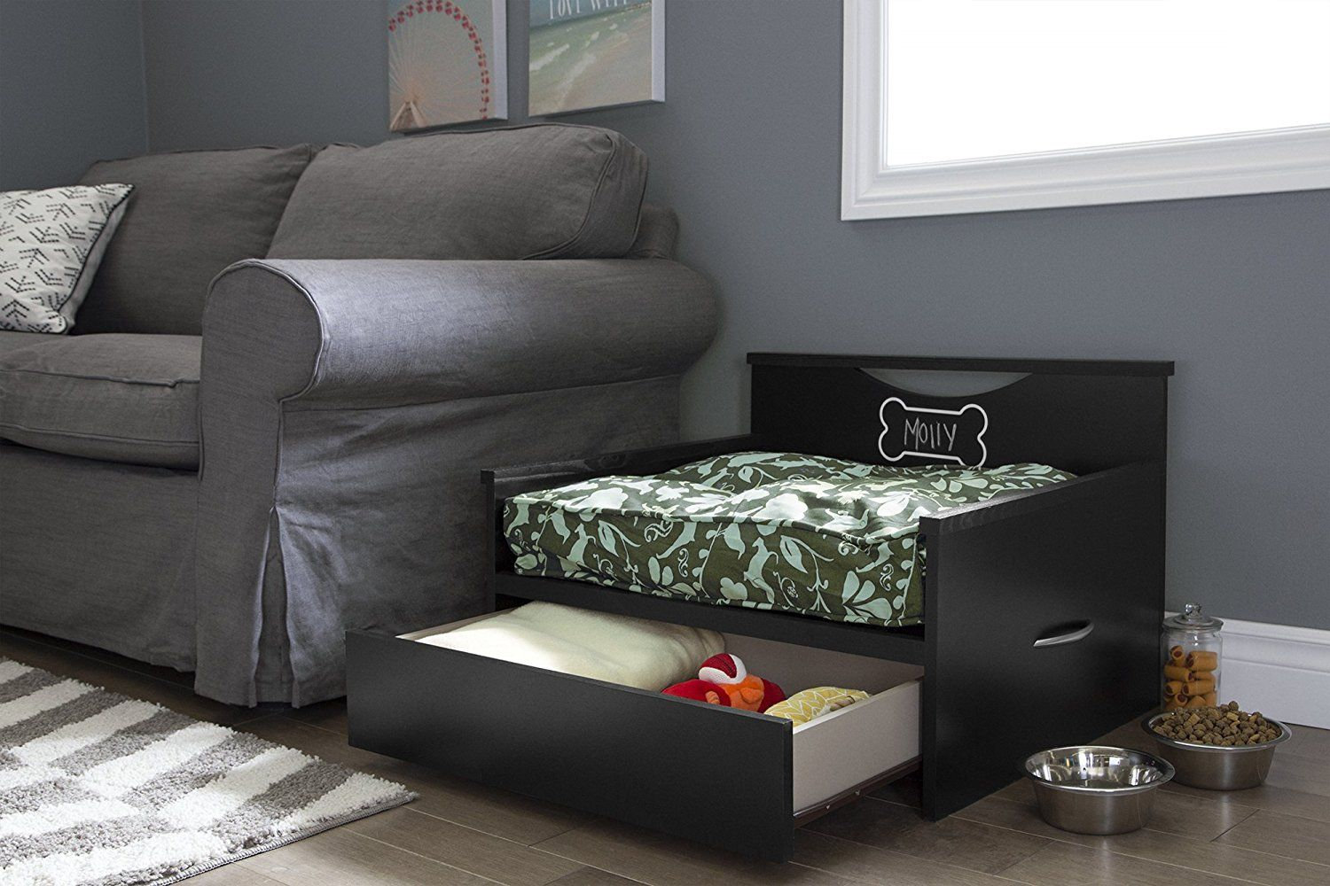 Amazon Com South Shore Step One Dog Bed With Storage And Cushion Cover Pure Black Pet Supplies With Images Dog Bed Coffee Table Pet Bed Bed Storage