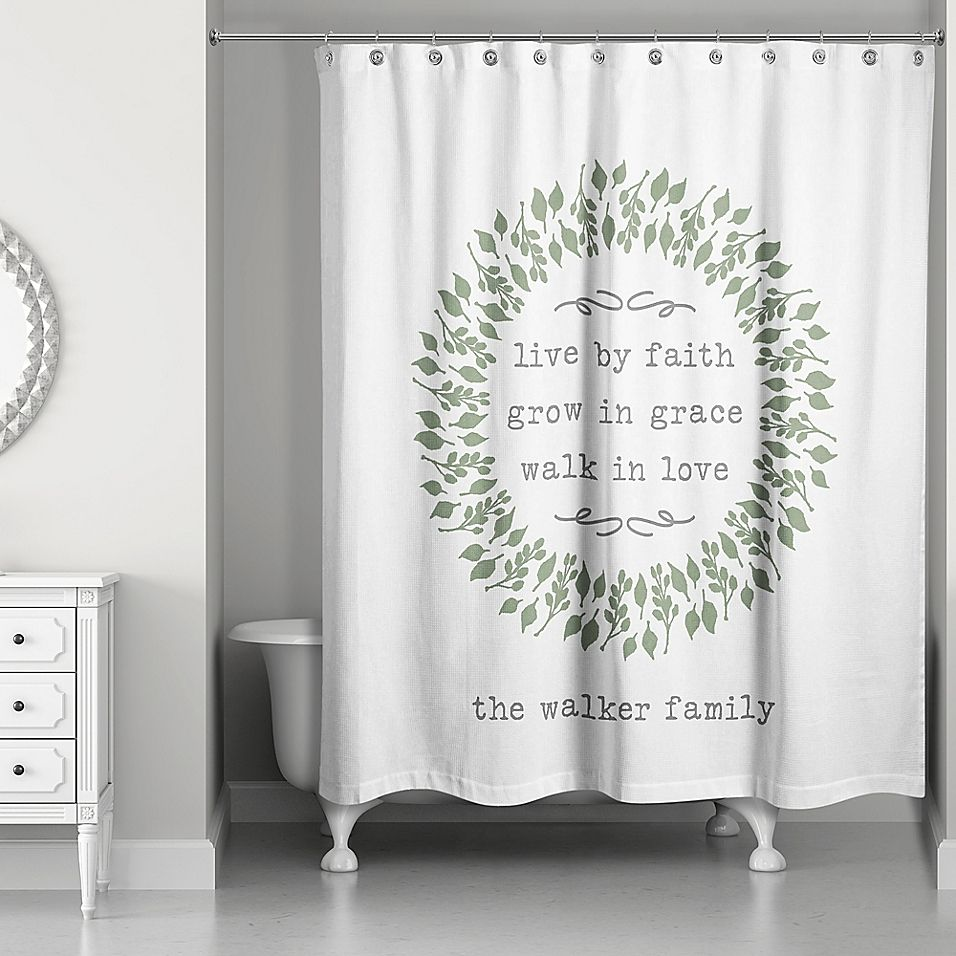 Designs Direct Live By Faith Shower Curtain In Green Floral