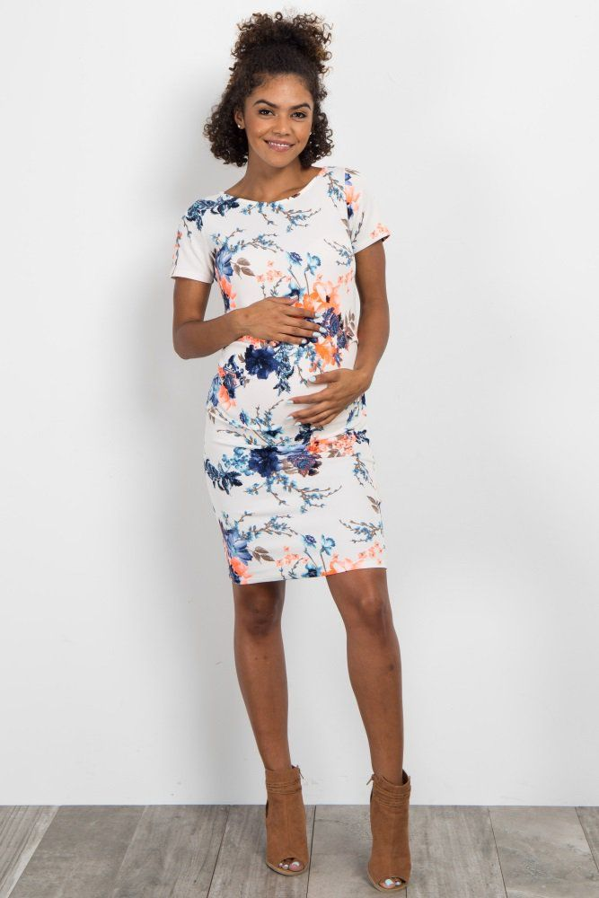 f837a13710fa Coral Neon Floral Fitted Maternity Dress | Baby Shower Outfits ...