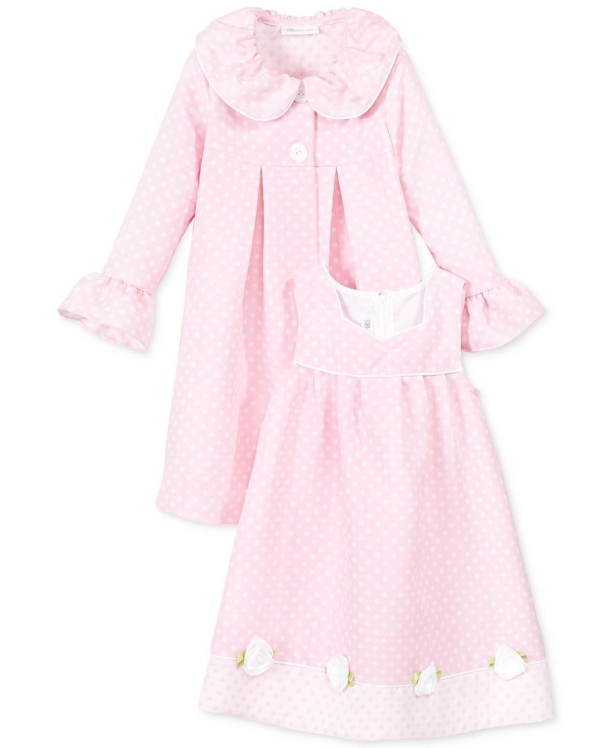 6ada4ad65f5 Bonnie Jean Little Girls' 2-Piece Poplin Dress & Jacquard Coat Set ...
