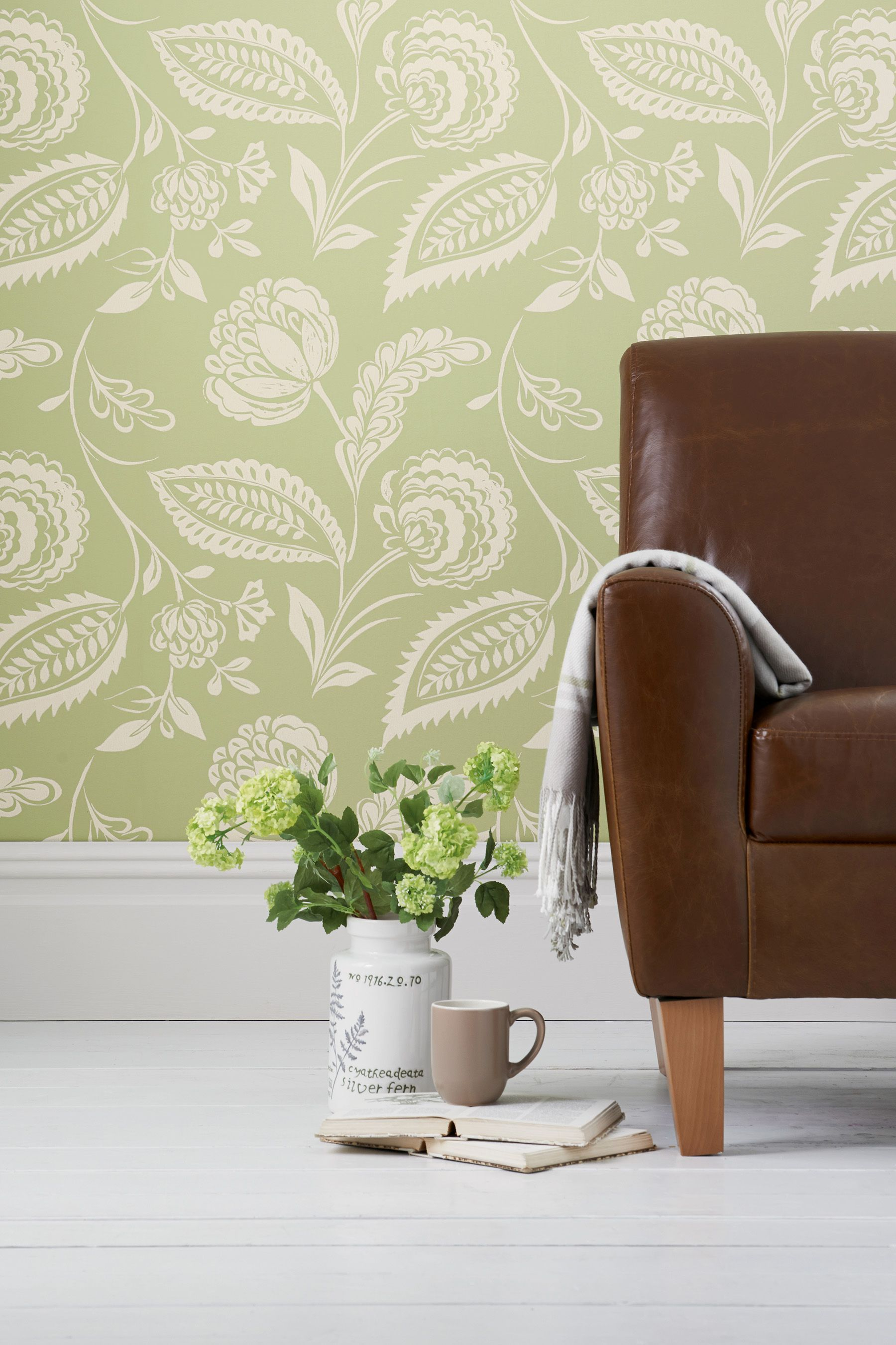 Buy Smart Artisan Floral Green Wallpaper from the Next UK
