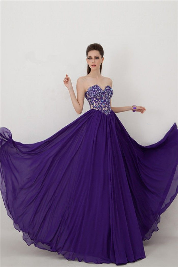 Long Dark Purple Chiffon Lace Beaded Corset Prom Dress Slit ...