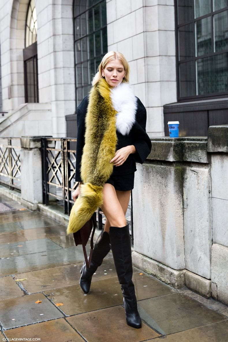 Bold fauxfur scarves clipped on an overcoat just scream style
