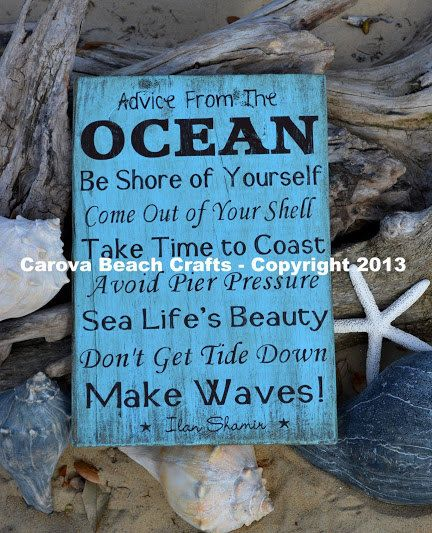 Advice From The Ocean Sign Wood Sign NO Vinyl by CarovaBeachSignCo, $40.00