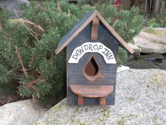 Rustic Blue Dew Drop Inn Birdhouse Country by craftsbymerle