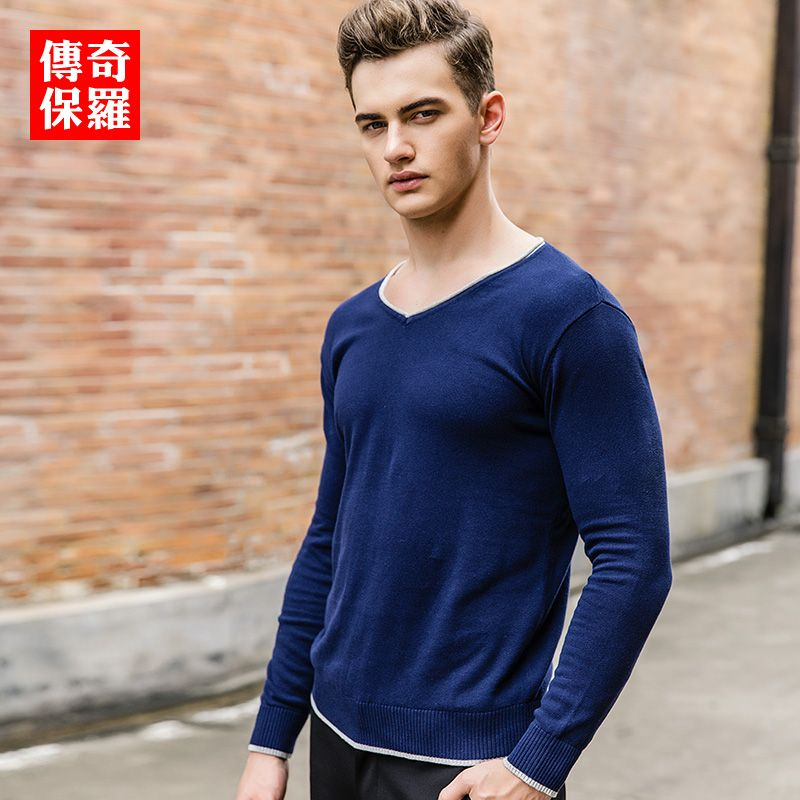 High fashion men sweaters 2017 spring knitted mens v neck sweater long sleeve solid color mens 3xl sweatercoat