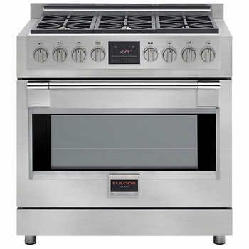 Fulgor Milano Sofia 36 In Dual Fuel Range With 6 Burners And True Dual Convection Oven Dual Fuel Ranges Convection Oven Kitchen Large Appliances