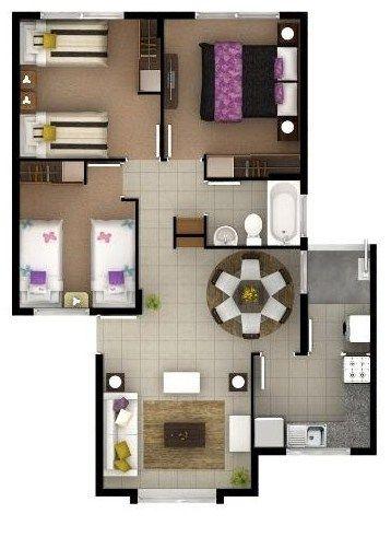 Modelo de casa de 3 dormitorios copia casas house for Modelos de casas de 3 dormitorios