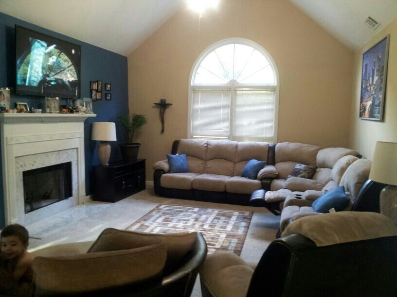 Brown and blue living room home brown couch living - Blue and brown living room furniture ...