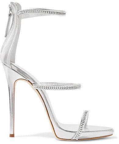 971cc302dd7f2 Giuseppe Zanotti Crystal-embellished Metallic Leather Sandals - Silver