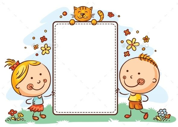 cartoon kids with a frame with copy space - Cartoon Picture For Kids