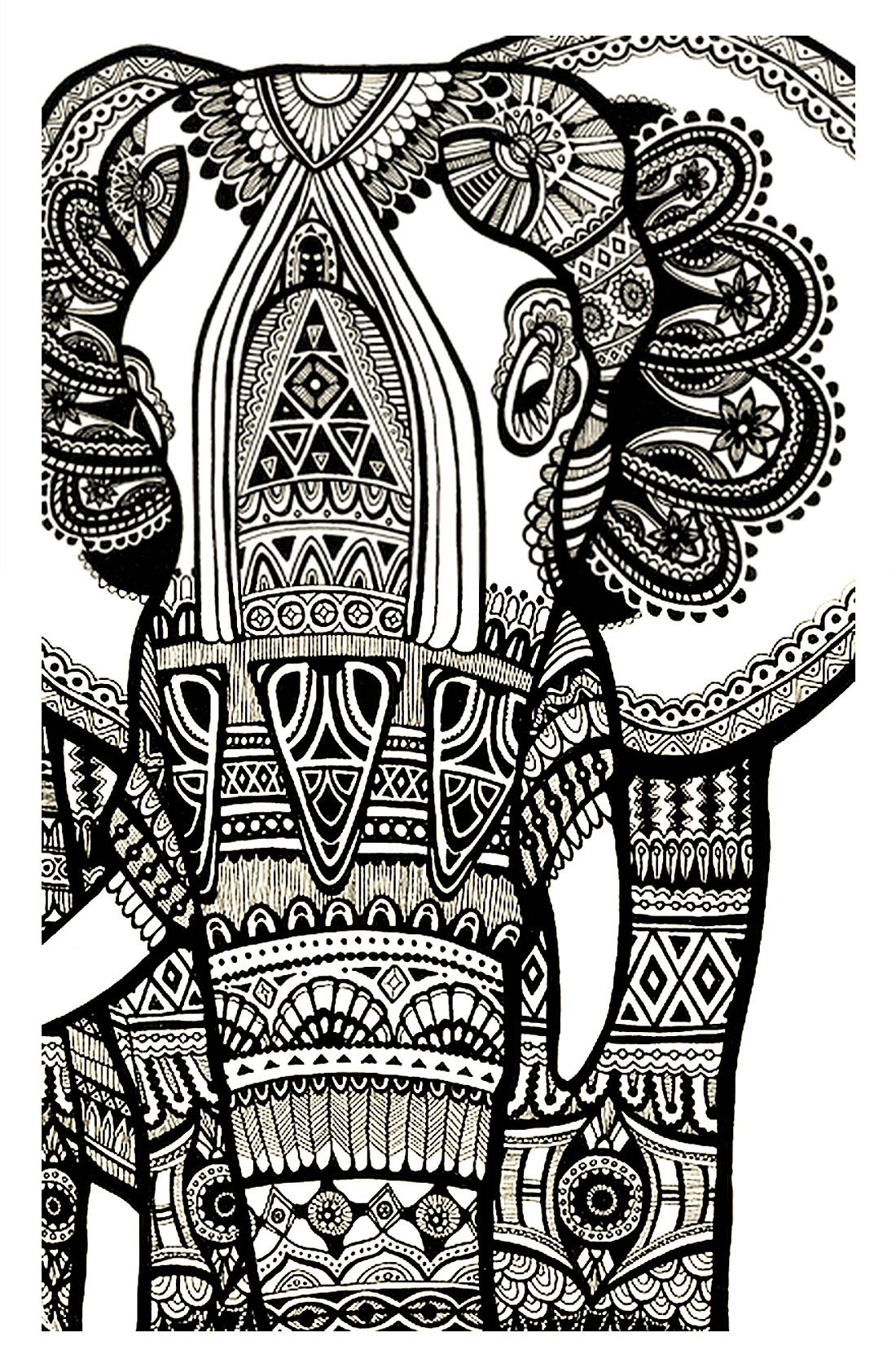 Painting pages to print - Free Coloring Page Coloring Elephant Te Print For Free A Magnificien Elephant Drawn With Zentangle Patterns From Coloring Pages For Adults