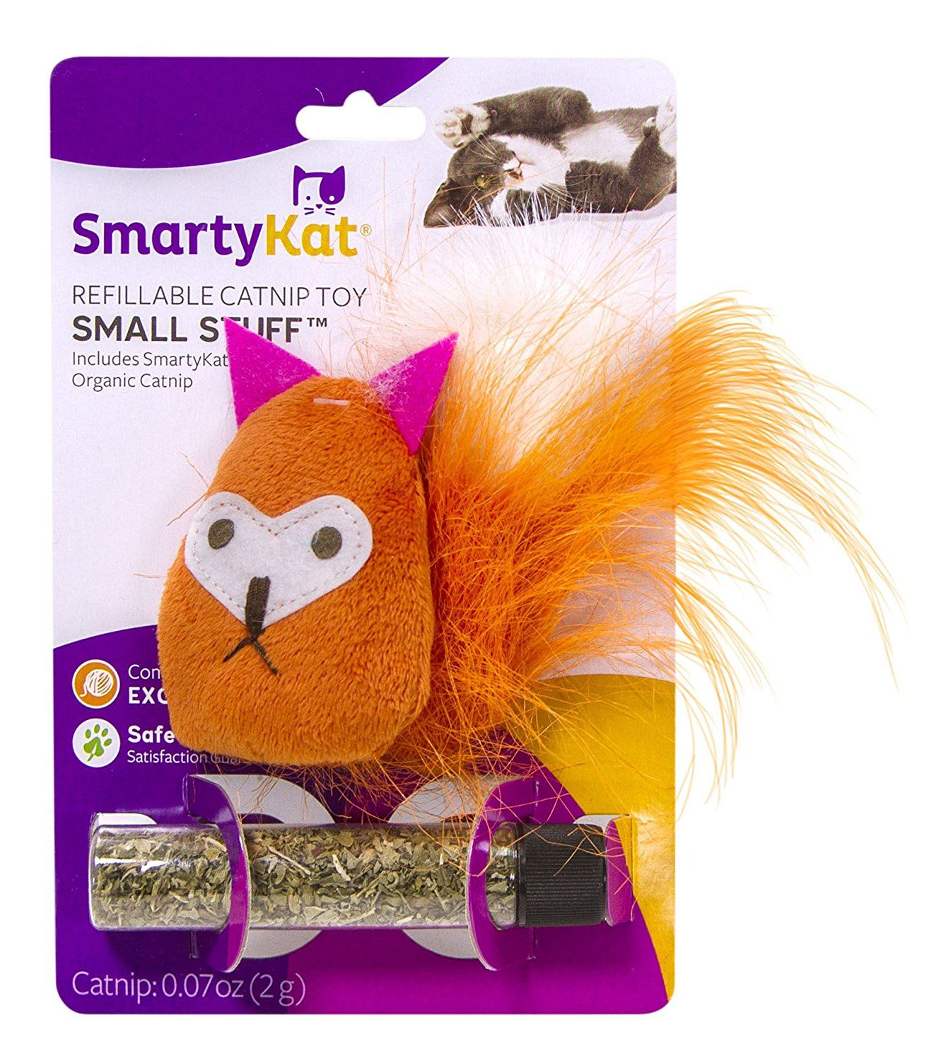 SmartyKat Small Stuff Refillable Catnip Toy with Tube