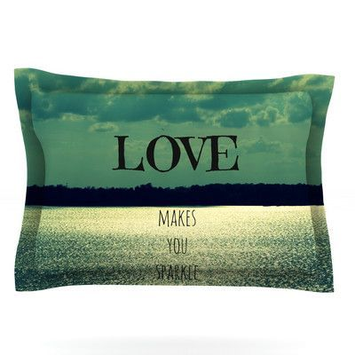 KESS InHouse Love Makes You Sparkle by Robin Dickinson Featherweight Pillow Sham Size: King, Fabric: Cotton