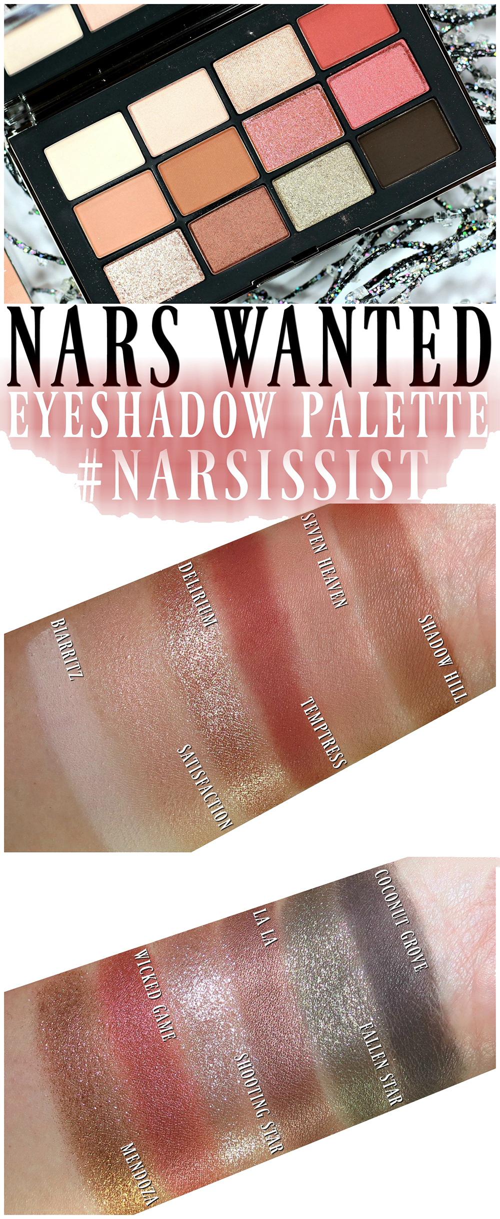 Nars Narsissist Wanted Eyeshadow Palette Swatches Review Eotd Eyeshadow Affordable Eyeshadow Palettes Nars Eyeshadow