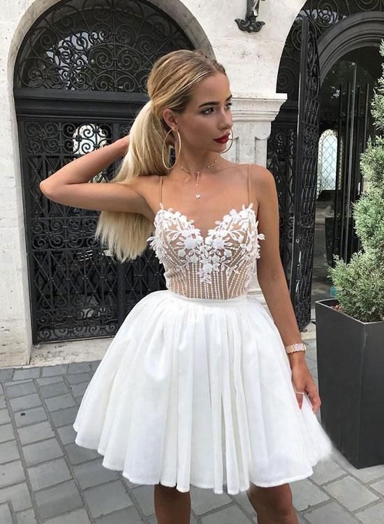 White v neck lace short prom dress, homecoming dress – Komers dress