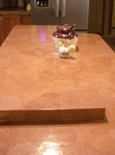 Kitchen Countertop After Decoupaging With Brown Paper Bag
