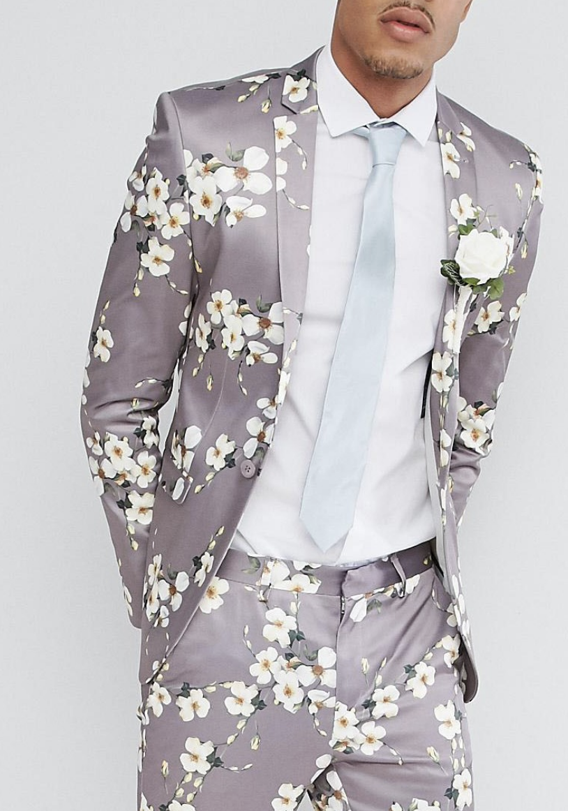 64000a97691a ASOS TALL Wedding Super Skinny Blazer In Grey Floral Print from ASOS ...